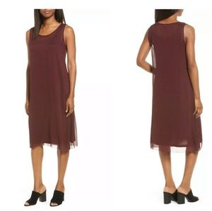 Eileen Fisher  Crinkle Silk U Neck w/Slip Dress